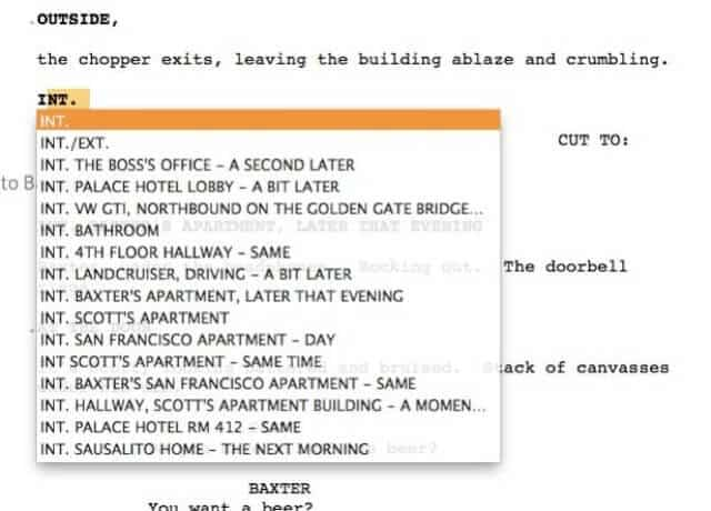 Interior example from screenwriting software